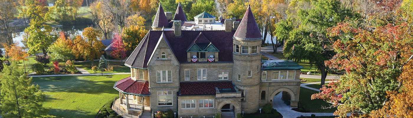 An aerial shot of Brookside Mansion taken from a drone